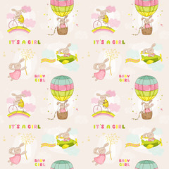 Seamless Baby Bunny Background -for Baby Shower or Arrival Card