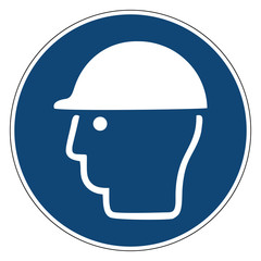 Mandatory action sign, Ware head protection