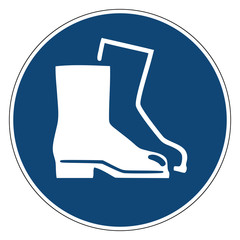 Mandatory action sign, Wear Foot Protection