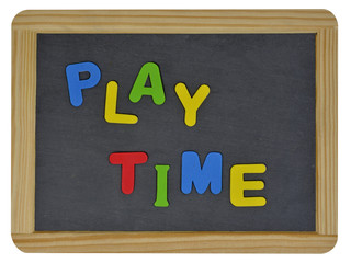 Play time in colored letters written on traditional slate