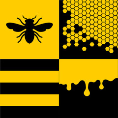 Bee Honeycells and Honey Patterns Set. Vector