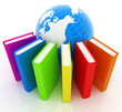canvas print picture - Colorful books and earth