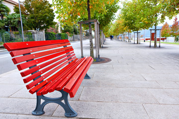 Re bench on pedestrian sidewalk