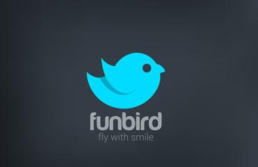 Blue Bird Flying Abstract silhouette vector logo design