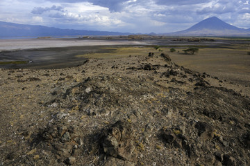 View on lake Natron and the Ol donyo lengai volcano.