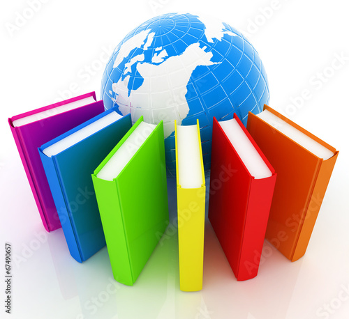 canvas print picture Colorful books and earth
