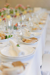 Row of Glasses and Plates