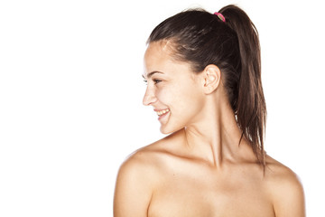 young beautiful smilings woman without make up