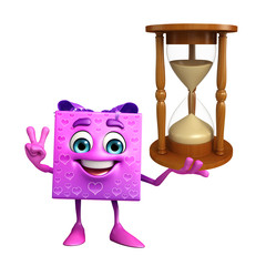 Gift Box Character with sand clock
