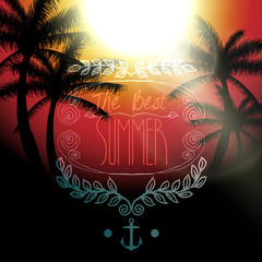 Vector hello summer message, on tropical background