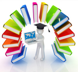 Colorful books like the rainbow and 3d man in a graduation hat w