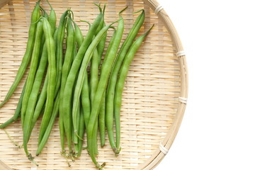 Yardlong bean isolated on the white background