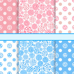 Pink and blue set of polka dot fabric seamless patterns - vector
