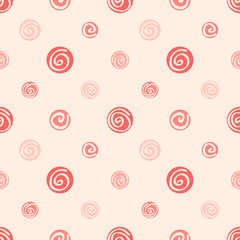 Pink soft abstract seamless pattern, polka dot fabric, backgroun