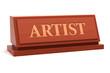 Artist job title on nameplate
