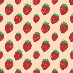 Sweet Red Strawberry - vector seamless pattern