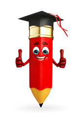 Pencil Character is Graduate Hat