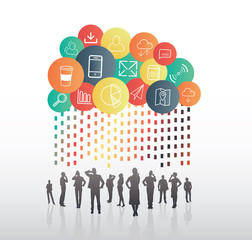 Business people standing under app cloud