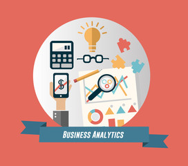 Business analytics concept vector with banner and text