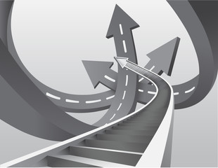 Intersecting grey arrow roads with steps