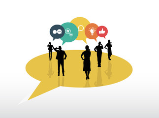 Business people with speech bubbles showing app icons