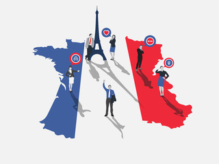 Business people standing on france with flag colours