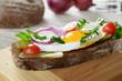 Fried egg open sandwich