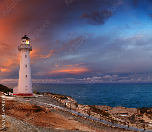 Fotobehang Vuurtoren / Mill Castle Point Lighthouse, New Zealand