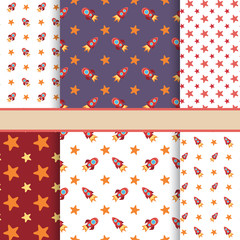 Vector set of seamless space vector patterns (tiling) - bright t