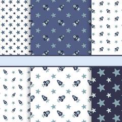 Vector set of seamless space vector patterns (tiling) - dark blu