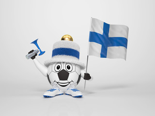 Soccer character fan supporting Finland