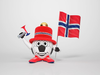 Soccer character fan supporting Norway