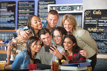 Smiling Diverse Students in Bistro