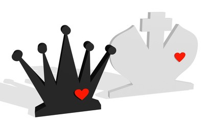 chess king and queen with hearts