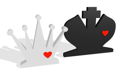 queen and king chess figures