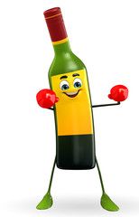 Wine Bottle Character with Boxing gloves