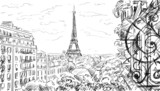 Street in paris. Eiffel tower -sketch  illustration - 67495077