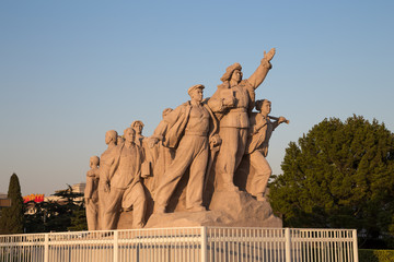 Revolutionary statues at Tiananmen Square in Beijing, China