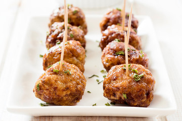 Meatballs in white plate