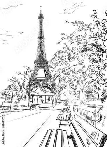 Street in paris. Eiffel tower -sketch illustration © ZoomTeam