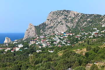 View of Mount Koshka and Simeiz settlement in Crimea