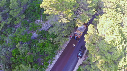 Road resurfacing on Island Mljet, aerial