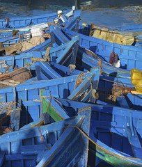 Blue fishing boats