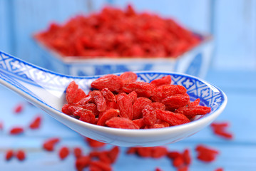 dried goji berries on chinese spoon