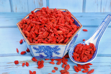 dried goji berries on chinese spoon and in a bowl