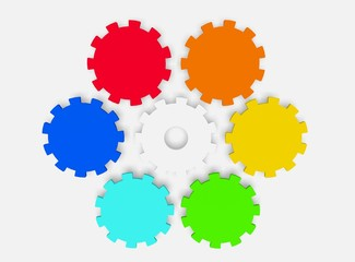rainbow colors on gears