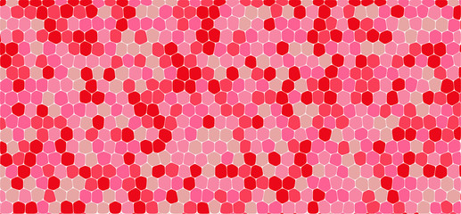 Red and pink tones hexagonal abstract background