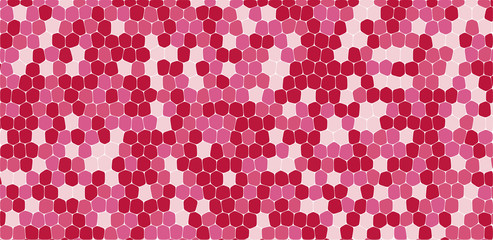 Pink and red tones hexagonal abstract background