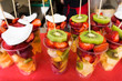 Fresh fruit salad on a market.  Fruit Cocktail