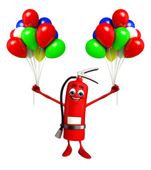 Fire Extinguisher character with Ballons